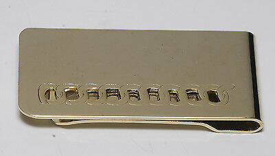 Vintage Shiny Gold Plated Brass Etched Rope Perforated Metal Money Clip NOS