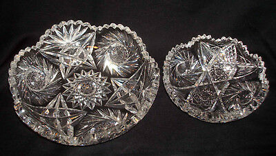 2 Antique American Brilliant Cut Glass Whirling Hobstar Star Round Bowls Dishes