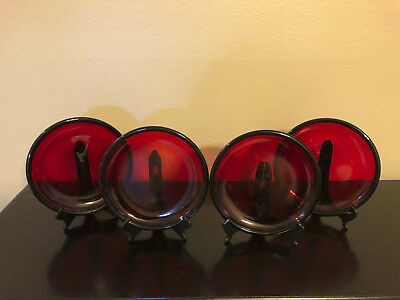 """4 Crate & Barrel RUBY RED ARCOROC FRANCE ROLLED RIM EDGE DINNER PLATES 11"""" NEW"""
