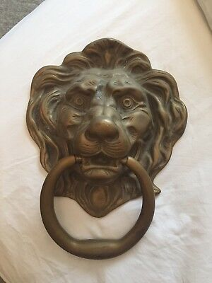 Old Brass Large Figural Lions Head Door Knocker  ( 8 1/4 X 11 )