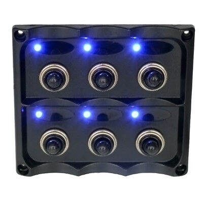 6 Gang 12V Switch Panel Splashproof Toggle LED Back Indicator Blue Light FK