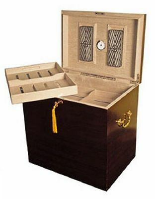 Medici 500 Cigar Deep Walnut Cabinet Foot Locker Humidor