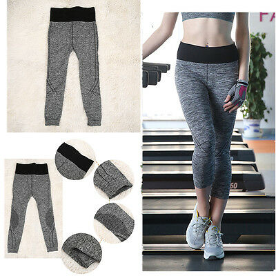 Women 3/4 Leggings Yoga Sport Running Pants Fitness Gym Elastic Leggings F7