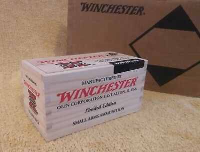 Winchester Wood Ammo Box 22LR Super X Limited Edition Crate Sliding top