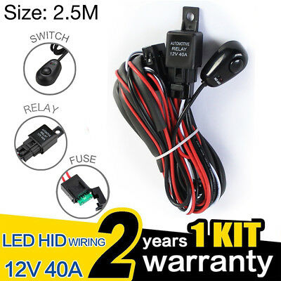 Wiring Harness Kit Loom For LED Work Driving Light Bar With Fuse Relay 12V 40A