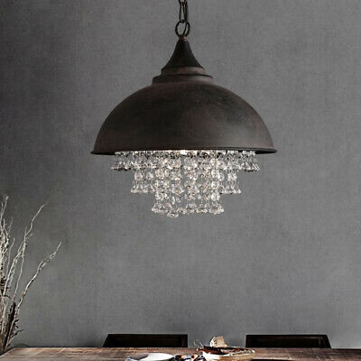 Rustic Vintage Industrial Pendant Light Ceiling Lamp Crystal Chandelier Fixture