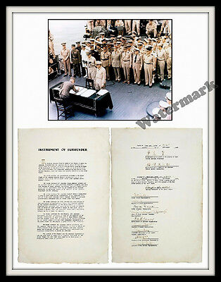 Photograph WWII Japanese Surrender Signing on the USS Missouri Year 1945 11x14