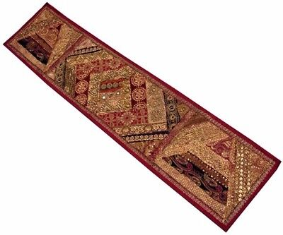 """60"""" Large Vintage Sari Ind Beaded Moti Sequin Wall Décor Hanging Tapestry Runner"""