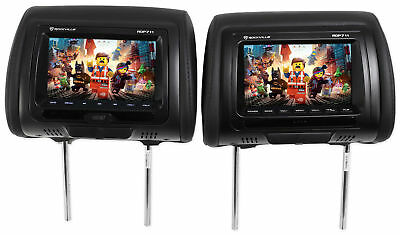"Rockville RDP711-BK 7"" Black Car Headrest Monitors w/DVD Player/USB/HDMI"