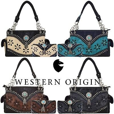 Western Purse Laser Cut Tooled Leather Country Handbag Women Shoulder Bag Wallet