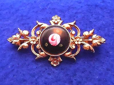 Vintage Painted Glass Bar Brooch - Pink Rose, Black Background- Victorian Style