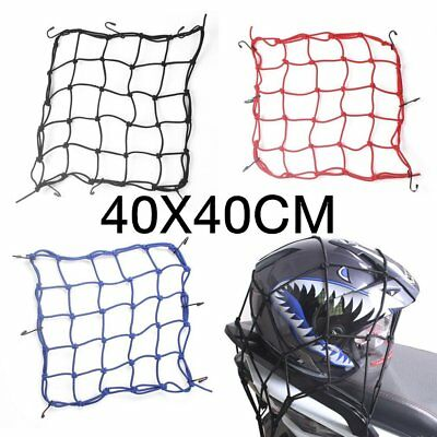 40x40 Motorbike Motorcycle Hold Helmet Cargo Luggage Mesh Net Bungee 6 Hook FU