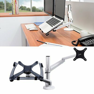 LESHP Dual Arm Laptop Holder Desktop Clamping Laptop Combination Bracket Lot NY
