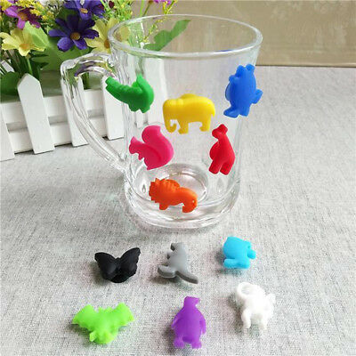 12Pcs Cartoon Animal Silicone Suction Cup Wine Glasses Drinks Marker Tool Worthy