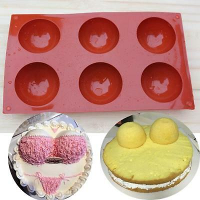 Hot Silicone 6 Round Half Ball Soap Mold For Candy Chocolate Cake Soap Mould