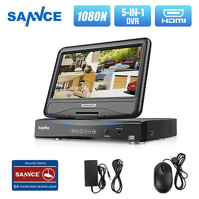 """SANNCE 10.1"""" Rotable LCD Monitor 5IN1 1080N 4CH CCTV DVR Home Security System HD"""