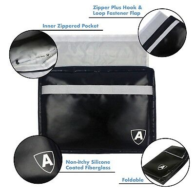 Fireproof Document Holder Bag Silicone Coated Fiberglass with Zipper Closure