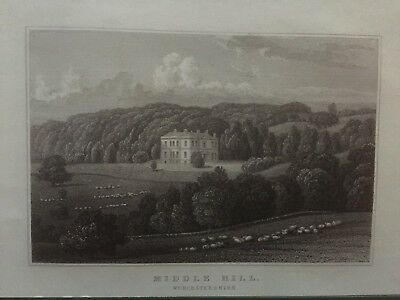 1831 Antique Print; Middle Hill House, near Broadway, Worcestershire by Neale
