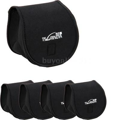 5PCS Fishing Protective Case Neoprene Reel Bag Pouch Storage Zip Suitable G8O6