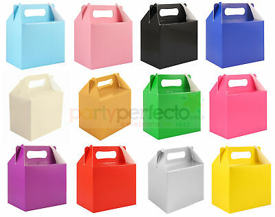6 Coloured Party Boxes - Choose From 13 Colours - Food Lunch Cardboard Childrens