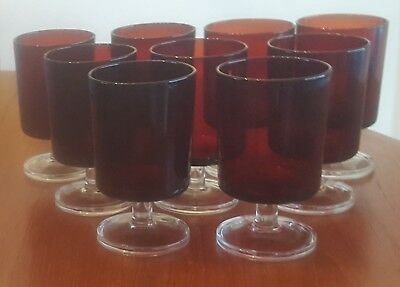 9 Vintage Luminarc France Ruby Red Wine Goblets Clear Base Glasses 4 1/2""