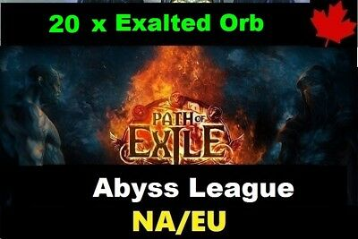 20 x Exalted Orb - Abyss League NA/EU - Path of Exile: - POE Softcore Exalt Orbs