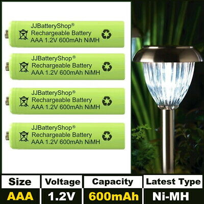 AAA Rechargeable Solar Light Batteries 1.2v 600mAh NiMH for Garden Lights UK