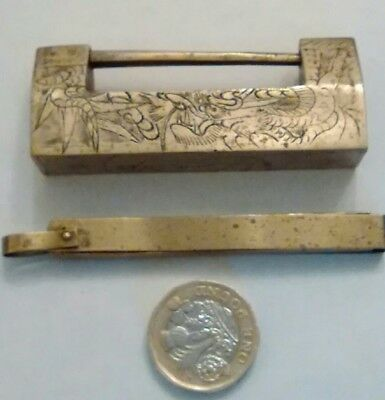 Vintage Chinese Brass Lock and Key 6.3cm Length