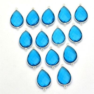 15 Pcs Lot of 925 Silver Blue Topaz Quartz Pear 18x25mm Gemstone Connectors
