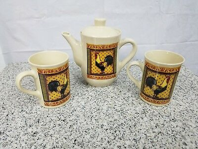Vintage BAY ISLAND INC. Rooster Chicken Lt.Tan Ceramic Coffee Teapot and 2 Cups