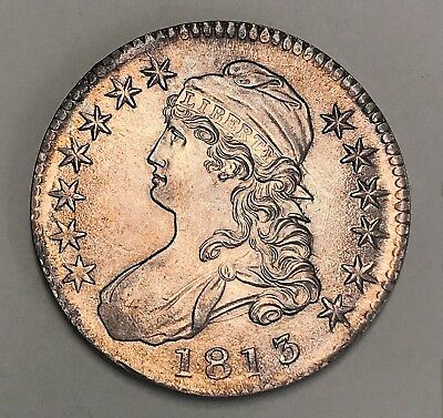 1813 50c CAPPED BUST SILVER HALF DOLLAR GRADED NGC MS63 MINT STATE 63