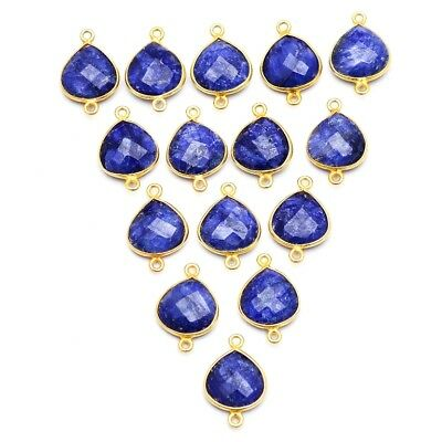 15 Pcs Lot of Silver Overlay Dyed Blue Sapphire Heart 12mm Gemstone Connectors