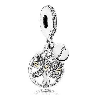 NEW Family Tree Heritage Charm Dangle Genuine Sterling Silver 925 Mum 791728CZ
