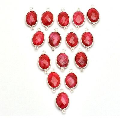 15 Pcs Lot of Silver Overlay dyed Ruby Oval 11x14mm Gemstone Women's Connectors