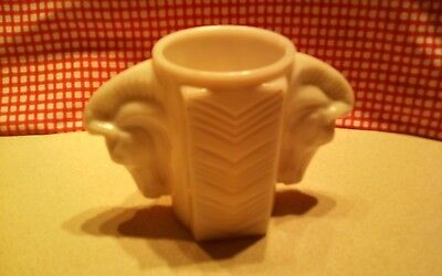 Art Deco Milk Glass Double Headed Horse Vase