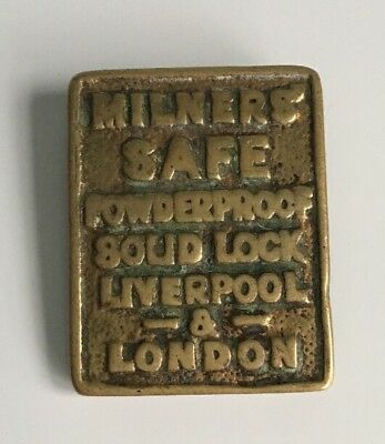 Vintage Milners' Safe Key Lock Cover Escutcheon Plate Brass Original Victorian
