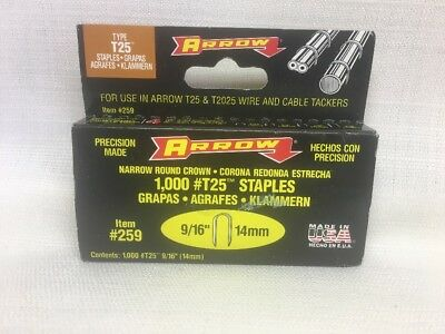"(BZ) ARROW Type T 25 Staples 1,000 count    ITEM #259 9/16"" (14mm)"
