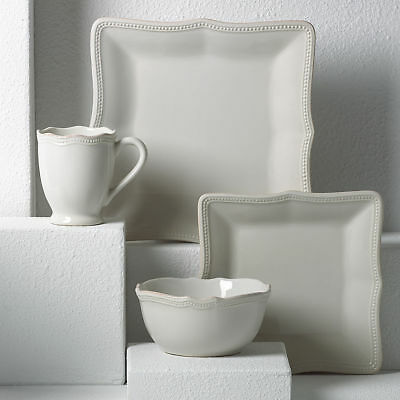 French Perle Bead White Square 4-piece Place Setting by Lenox - Set of 4