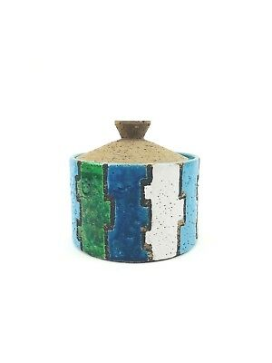 Vintage Signed Colorful Mid Century Modern Italian Art Pottery Canister  6X6X6
