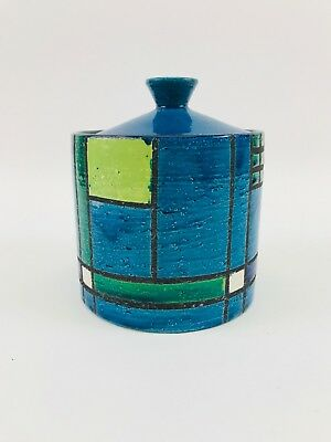 Vintage Signed Colorful Mid Century Modern Italian Art Pottery Canister  7X6X6