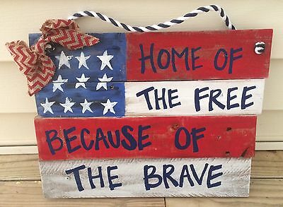 4th of July American Flag Patriotic Soldiers Rustic Wood Pallet Hanging Sign USA