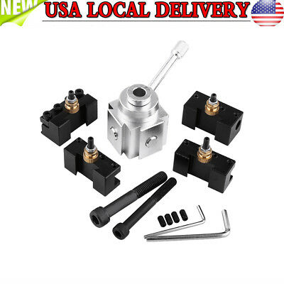 """Mini Quick Change Tool Post 4 Cutter Holder Kit Set for 7""""x10""""/ 12""""/14"""" Lathes"""