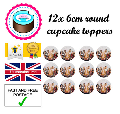 12 YOUR OWN EDIBLE CUPCAKE TOPPERS 6cm ROUND ANY image ICING OR WAFER CARD