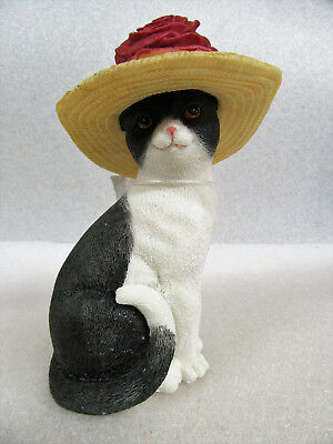 Island Creek ~ Rose ~ Character Cat with Rose in Straw Hat Resin Figurine