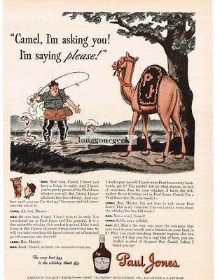 1942 Paul Jones Whiskey Fisherman Camel art by James Williamson Vtg Print Ad