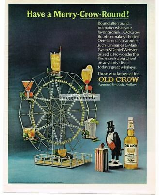 1966 OLD CROW Bourbon Whiskey Mechanical Ferris Wheel Toy Vtg Print Ad