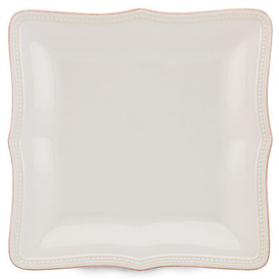 """French Perle Bead White Square 10.75"""" Dinner Plate by Lenox - Set of 4"""