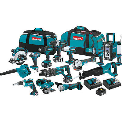 Makita XT1501 18-Volt 3.0Ah 15pc Lithium-Ion Power Tool Cordless Combo Kit New
