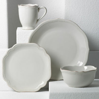 French Perle Bead White 4-piece Place Setting by Lenox - Set of 4