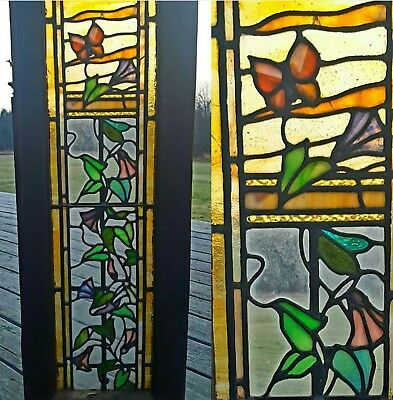 Antique Stained Glass Floral Window W Butterfly